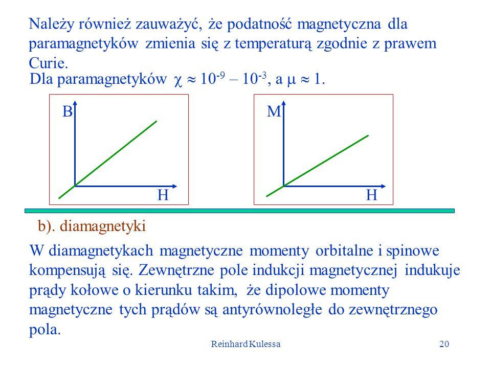 Reinhard Kulessa20 Należy również zauważyć, że podatność magnetyczna dla paramagnetyków zmienia się z temperaturą zgodnie z prawem Curie. b). diamagne
