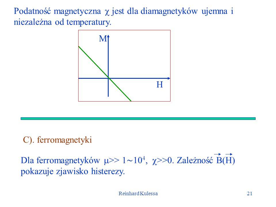 Reinhard Kulessa21 Podatność magnetyczna jest dla diamagnetyków ujemna i niezależna od temperatury. M H C). ferromagnetyki Dla ferromagnetyków >> 1 10