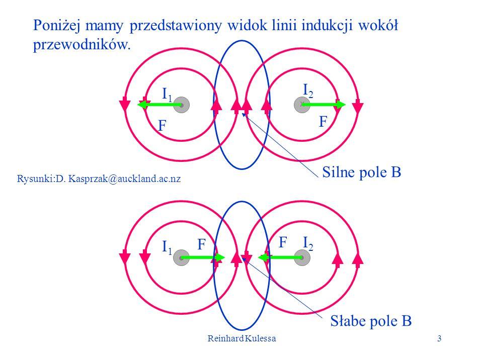 Reinhard Kulessa3 I1I1 I2I2 F F I1I1 I2I2 x F F Rysunki:D. Kasprzak@auckland.ac.nz Silne pole B Słabe pole B Poniżej mamy przedstawiony widok linii in