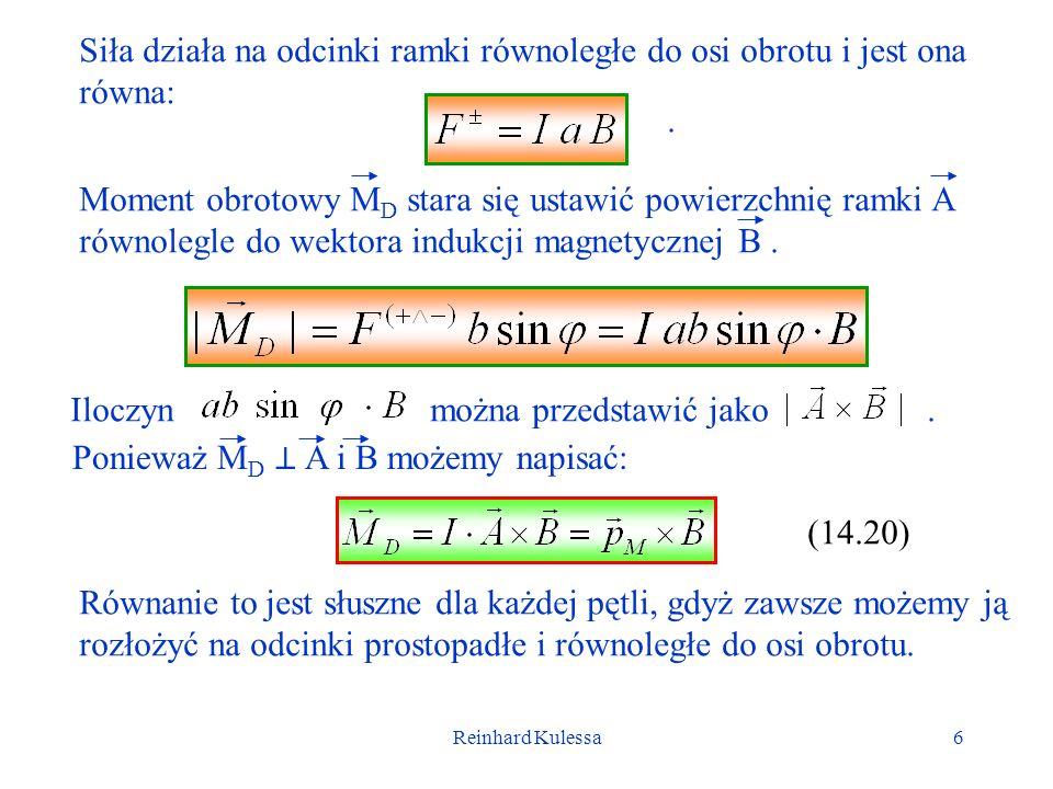 Reinhard Kulessa6 Siła działa na odcinki ramki równoległe do osi obrotu i jest ona równa:. Moment obrotowy M D stara się ustawić powierzchnię ramki A