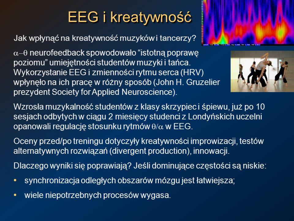 EEG i kreatywność Jak wpłynąć na kreatywność muzyków i tancerzy? neurofeedback spowodowało istotną poprawę poziomu umiejętności studentów muzyki i tań