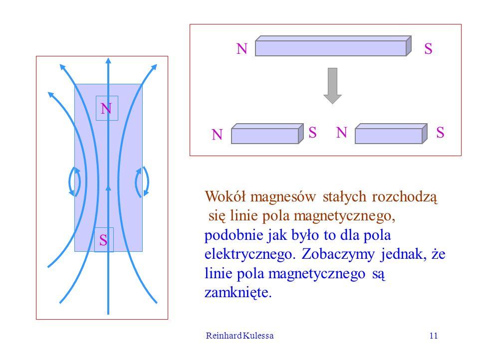 Reinhard Kulessa11 NS N SNS N S Wokół magnesów stałych rozchodzą się linie pola magnetycznego, podobnie jak było to dla pola elektrycznego. Zobaczymy