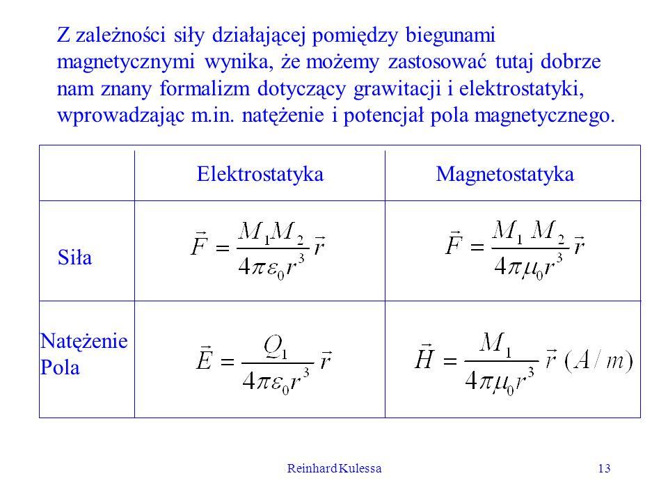 Reinhard Kulessa13 Z zależności siły działającej pomiędzy biegunami magnetycznymi wynika, że możemy zastosować tutaj dobrze nam znany formalizm dotycz