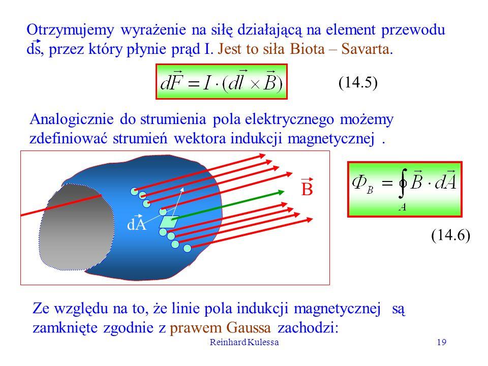 Reinhard Kulessa19 Otrzymujemy wyrażenie na siłę działającą na element przewodu ds, przez który płynie prąd I. Jest to siła Biota – Savarta. (14.5) An