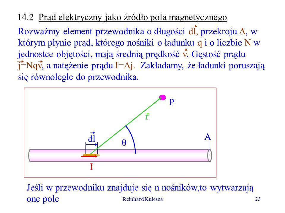 Reinhard Kulessa23 14.2 Prąd elektryczny jako źródło pola magnetycznego Rozważmy element przewodnika o długości dl, przekroju A, w którym płynie prąd,