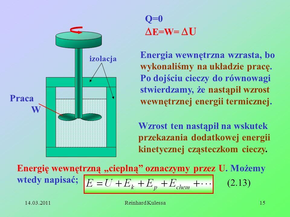 14.03.2011Reinhard Kulessa15 Praca W izolacja Q=0 E=W= U Energia wewnętrzna wzrasta, bo wykonaliśmy na układzie pracę. Po dojściu cieczy do równowagi