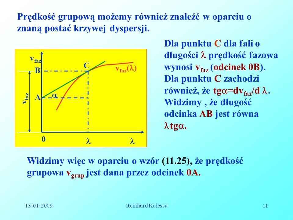 13-01-2009Reinhard Kulessa11 Prędkość grupową możemy również znaleźć w oparciu o znaną postać krzywej dyspersji. v faz 0 A B C v faz v faz ( ) Dla pun