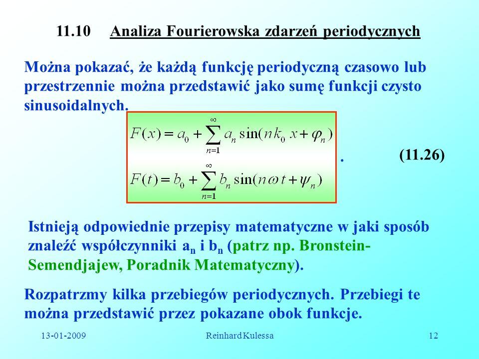 13-01-2009Reinhard Kulessa12 11.10 Analiza Fourierowska zdarzeń periodycznych Można pokazać, że każdą funkcję periodyczną czasowo lub przestrzennie mo
