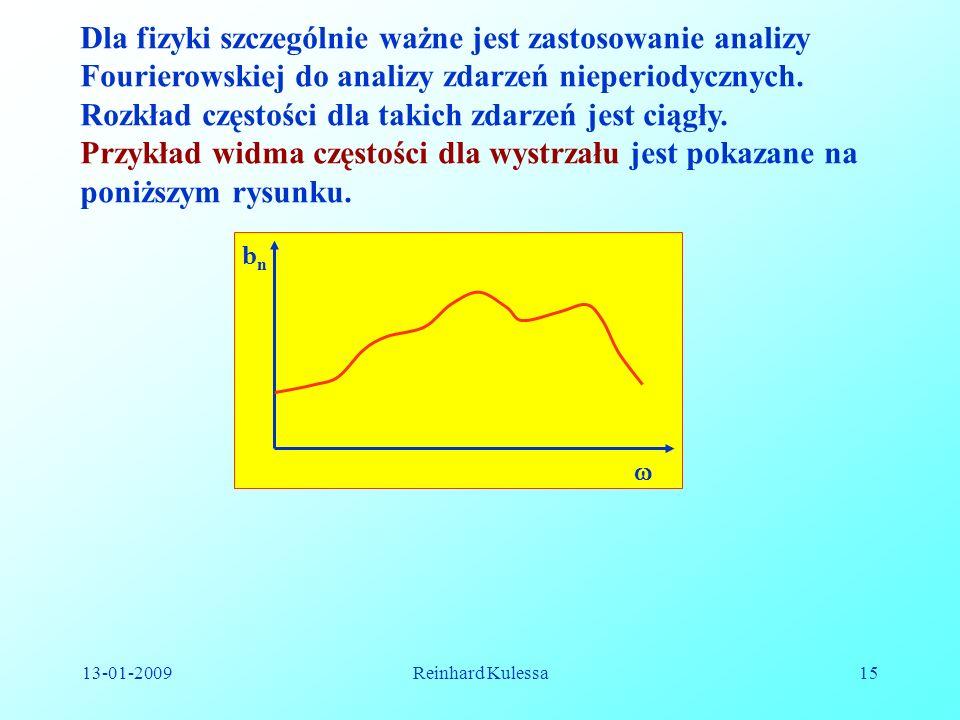 13-01-2009Reinhard Kulessa15 Dla fizyki szczególnie ważne jest zastosowanie analizy Fourierowskiej do analizy zdarzeń nieperiodycznych. Rozkład często