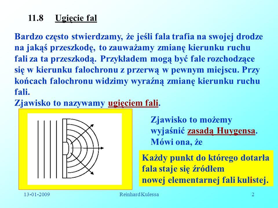 13-01-2009Reinhard Kulessa2 11.8 Ugięcie fal Bardzo często stwierdzamy, że jeśli fala trafia na swojej drodze na jakąś przeszkodę, to zauważamy zmianę