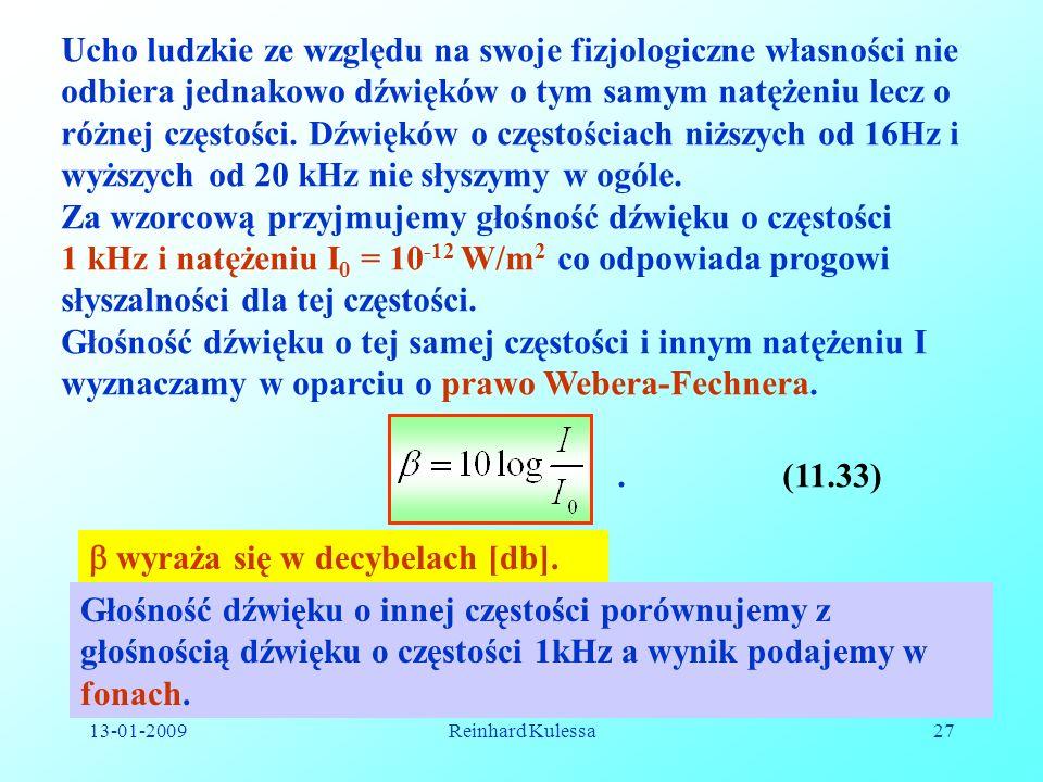 13-01-2009Reinhard Kulessa27 Ucho ludzkie ze względu na swoje fizjologiczne własności nie odbiera jednakowo dźwięków o tym samym natężeniu lecz o różn
