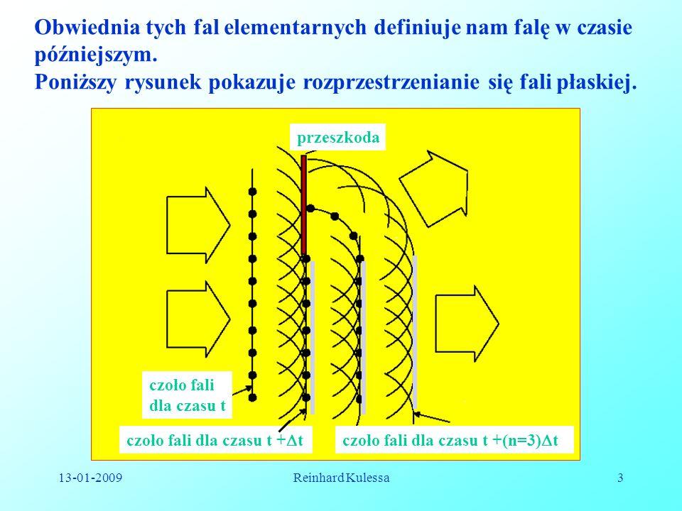 13-01-2009Reinhard Kulessa3 Obwiednia tych fal elementarnych definiuje nam falę w czasie późniejszym. Poniższy rysunek pokazuje rozprzestrzenianie się