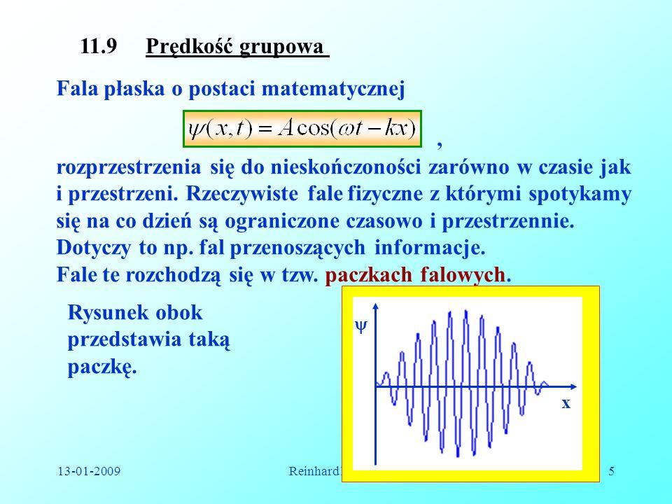 13-01-2009Reinhard Kulessa5 11.9 Prędkość grupowa Fala płaska o postaci matematycznej, rozprzestrzenia się do nieskończoności zarówno w czasie jak i p
