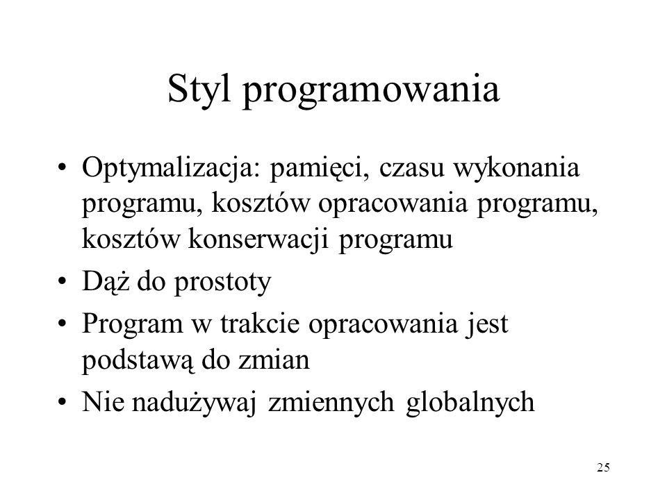 25 Styl programowania Optymalizacja: pamięci, czasu wykonania programu, kosztów opracowania programu, kosztów konserwacji programu Dąż do prostoty Pro