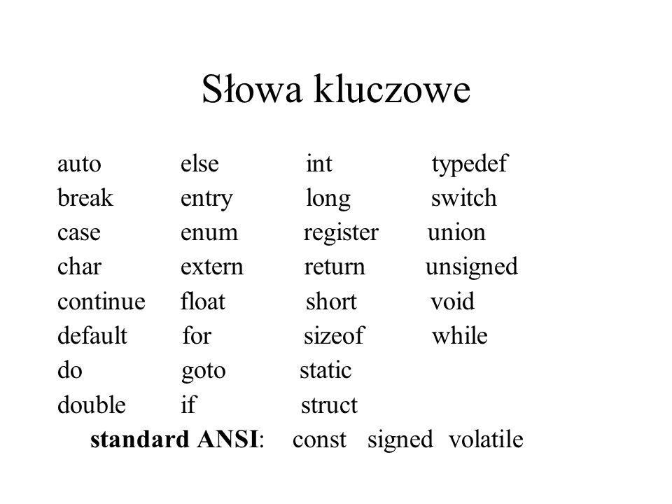 Słowa kluczowe auto else int typedef break entry long switch case enum register union char extern return unsigned continue float short void default fo