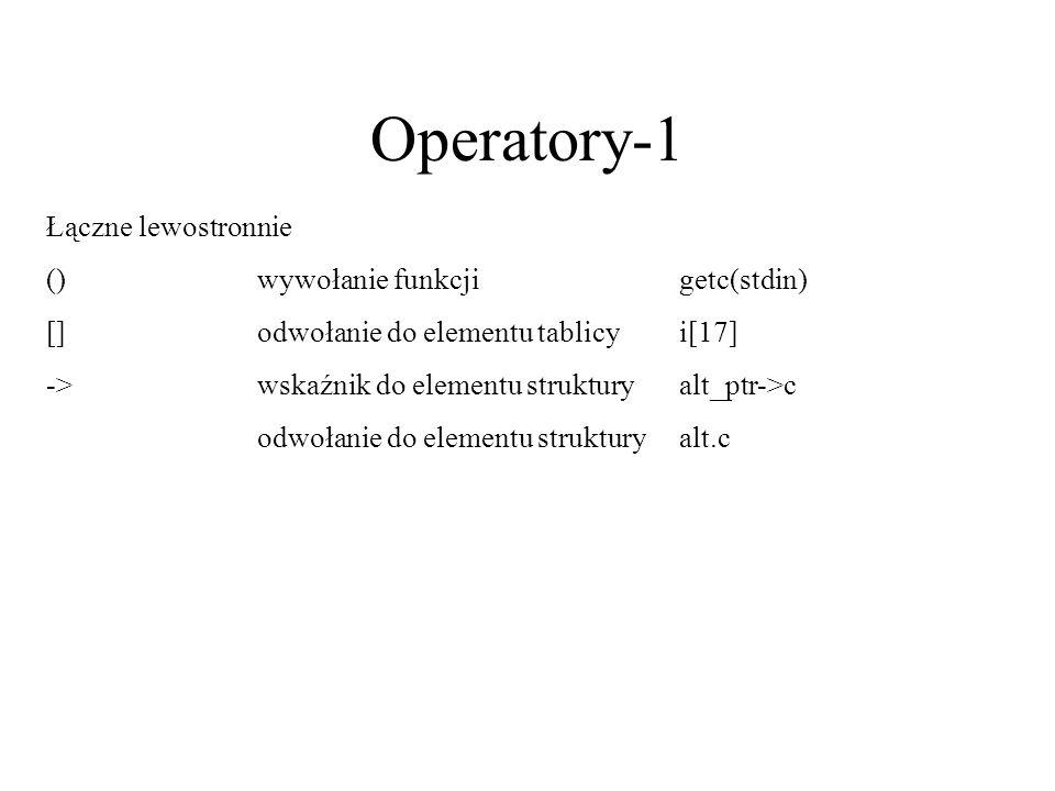 Operatory-1 Łączne lewostronnie ()wywołanie funkcjigetc(stdin) []odwołanie do elementu tablicyi[17] ->wskaźnik do elementu strukturyalt_ptr->c odwołan