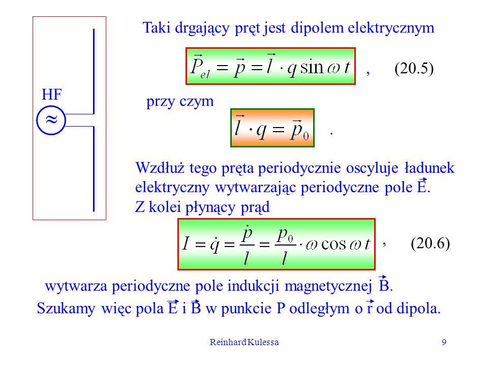 Reinhard Kulessa9 HF Taki drgający pręt jest dipolem elektrycznym (20.5) Wzdłuż tego pręta periodycznie oscyluje ładunek elektryczny wytwarzając perio