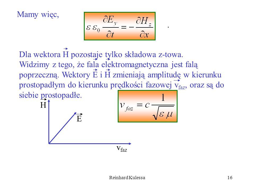 Reinhard Kulessa16 Mamy więc,. Dla wektora H pozostaje tylko składowa z-towa. Widzimy z tego, że fala elektromagnetyczna jest falą poprzeczną. Wektory