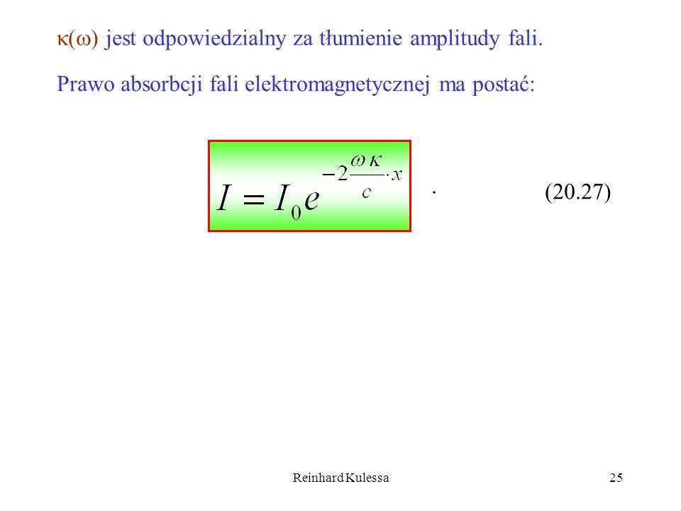 Reinhard Kulessa25 ( ) jest odpowiedzialny za tłumienie amplitudy fali. Prawo absorbcji fali elektromagnetycznej ma postać:. (20.27)