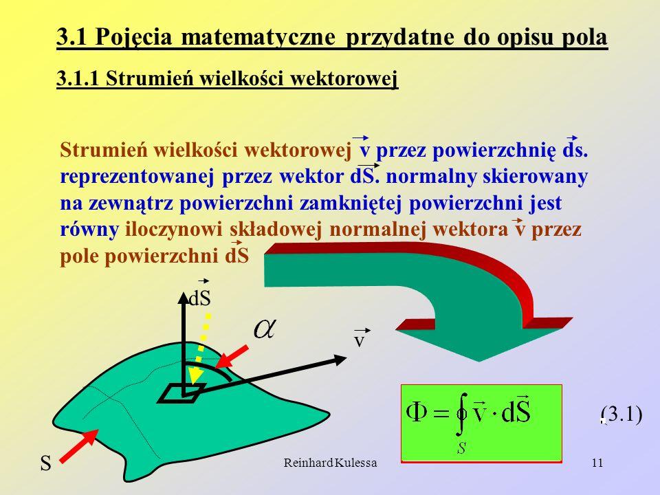 Reinhard Kulessa11 (3.1) 3.1 Pojęcia matematyczne przydatne do opisu pola 3.1.1 Strumień wielkości wektorowej v S dS Strumień wielkości wektorowej v p