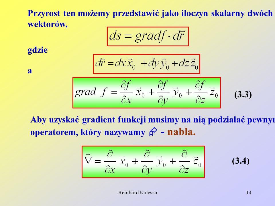 Reinhard Kulessa14 Przyrost ten możemy przedstawić jako iloczyn skalarny dwóch wektorów, gdzie a (3.3) Aby uzyskać gradient funkcji musimy na nią podz
