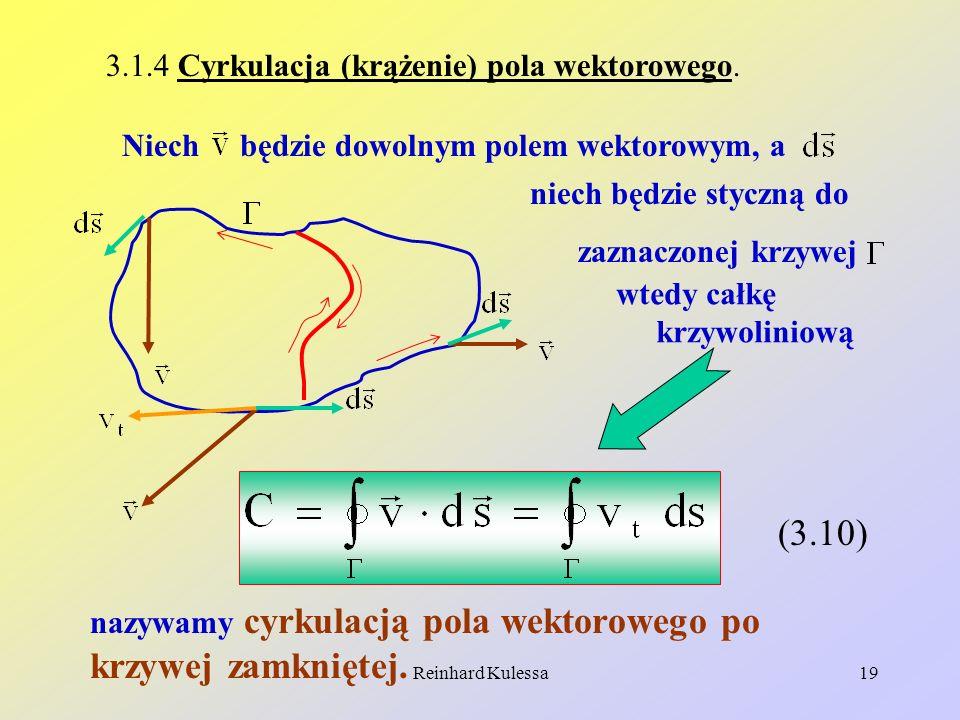 Reinhard Kulessa19 3.1.4 Cyrkulacja (krążenie) pola wektorowego. Niech będzie dowolnym polem wektorowym, a niech będzie styczną do zaznaczonej krzywej