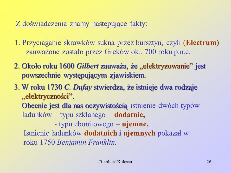 Reinhard Kulessa26 Z doświadczenia znamy następujące fakty: 1. Przyciąganie skrawków sukna przez bursztyn, czyli (Electrum) zauważone zostało przez Gr