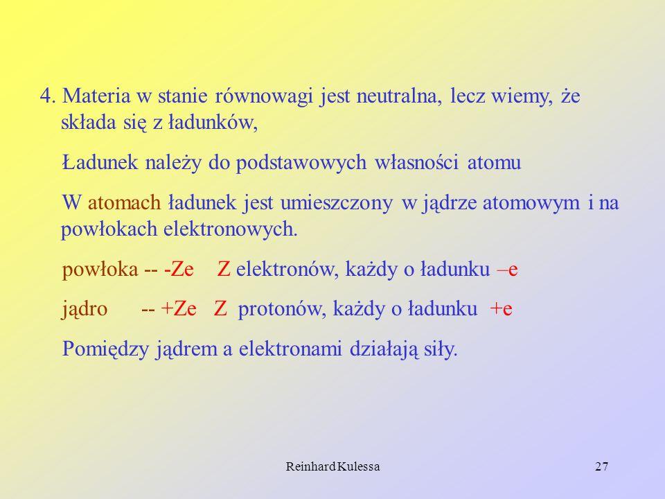 Reinhard Kulessa27 4. Materia w stanie równowagi jest neutralna, lecz wiemy, że składa się z ładunków, Ładunek należy do podstawowych własności atomu