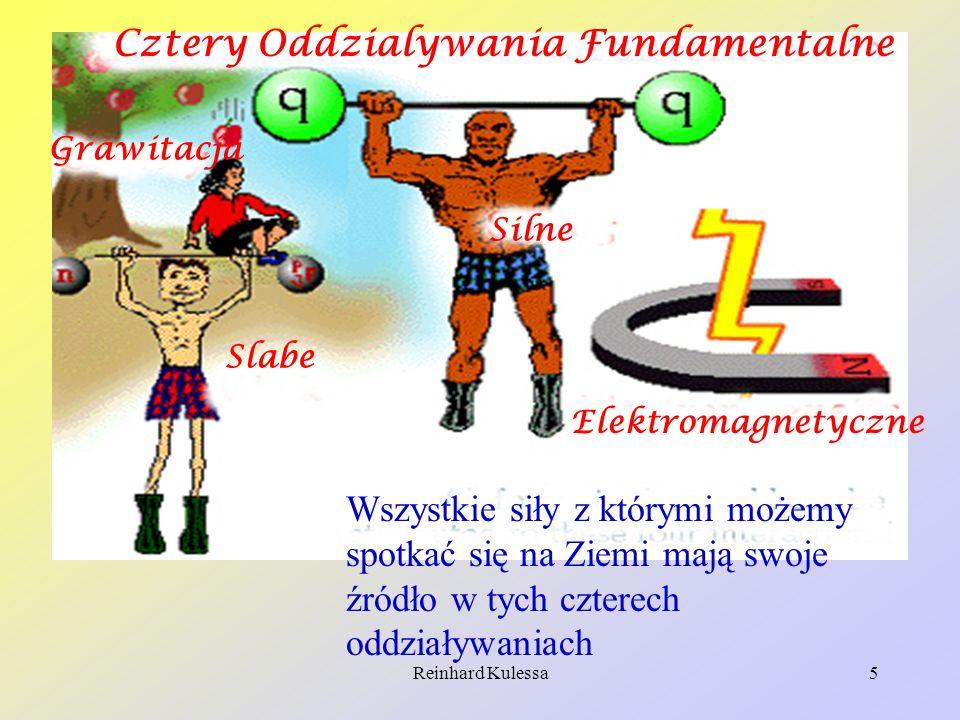 Reinhard Kulessa5 Cztery Oddzialywania Fundamentalne Grawitacja Slabe Silne Elektromagnetyczne Wszystkie siły z którymi możemy spotkać się na Ziemi ma