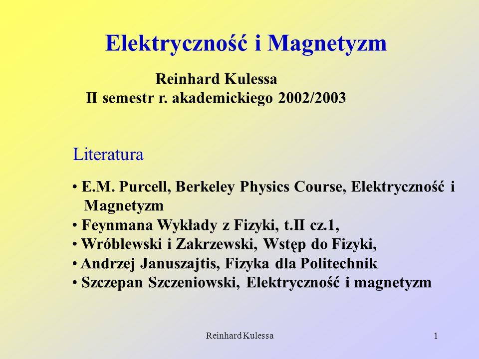 Reinhard Kulessa2 Wykład 1 1.Wiadomości wstępne Wykład będzie dotyczył doświadczalnego opisu zjawisk elektromagnetycznych.