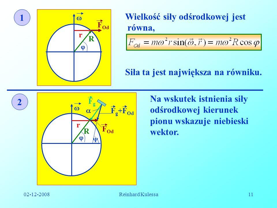 02-12-2008Reinhard Kulessa11 r R F Od 1 Wielkość siły odśrodkowej jest równa, Siła ta jest największa na równiku. 2 Na wskutek istnienia siły odśrodko