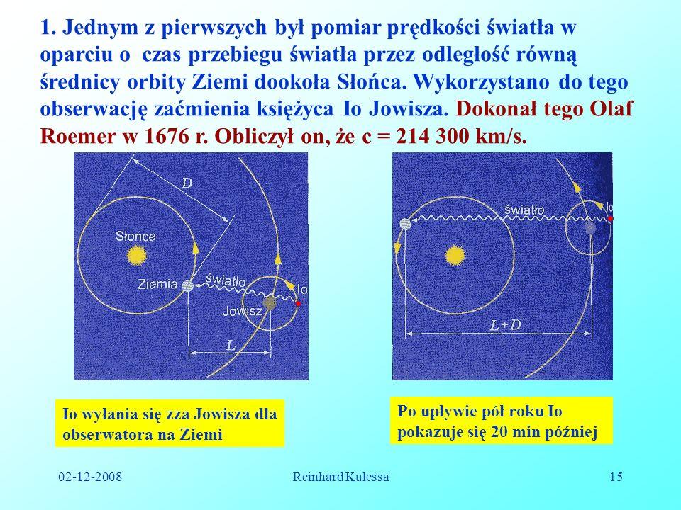 02-12-2008Reinhard Kulessa15 1. Jednym z pierwszych był pomiar prędkości światła w oparciu o czas przebiegu światła przez odległość równą średnicy orb