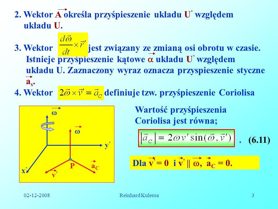 02-12-2008Reinhard Kulessa3 2. Wektor A określa przyśpieszenie układu U względem układu U. 3. Wektor jest związany ze zmianą osi obrotu w czasie. Istn