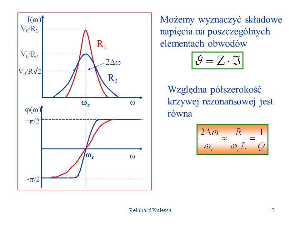 Reinhard Kulessa17 Możemy wyznaczyć składowe napięcia na poszczególnych elementach obwodów I( ) R1R1 R2R2 V 0 /R 1 V 0 /R 2 ( ) + /2 - /2 r r V 0 /R 2