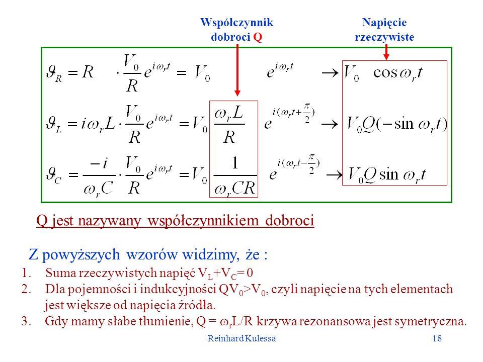 Reinhard Kulessa18 Współczynnik dobroci Q Napięcie rzeczywiste Z powyższych wzorów widzimy, że : 1.Suma rzeczywistych napięć V L +V C = 0 2.Dla pojemn