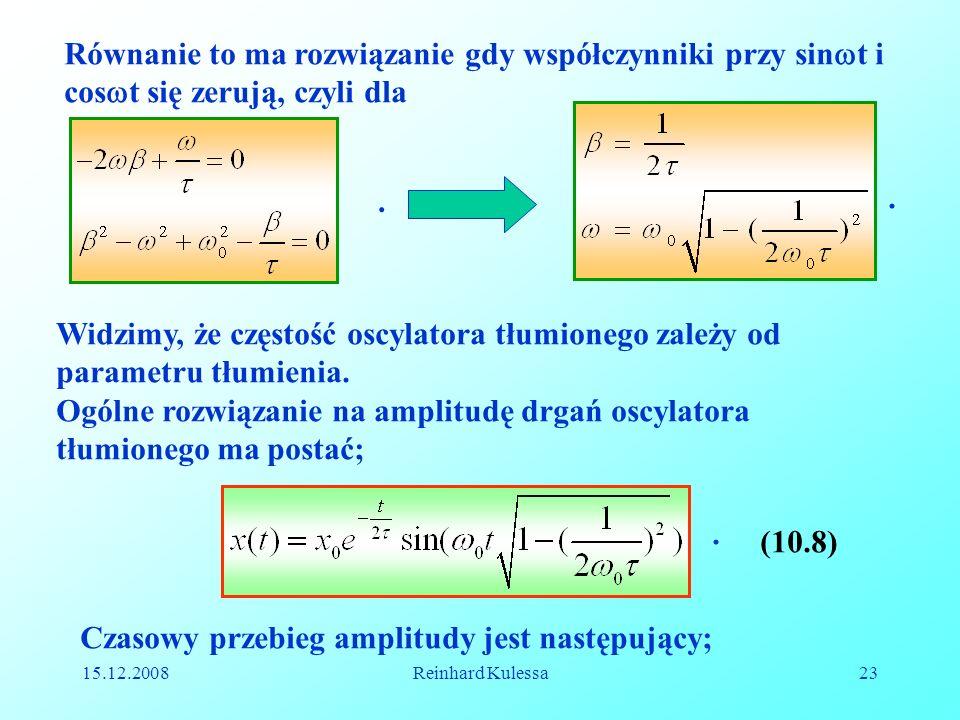 15.12.2008Reinhard Kulessa23 Równanie to ma rozwiązanie gdy współczynniki przy sin t i cos t się zerują, czyli dla.. Widzimy, że częstość oscylatora t