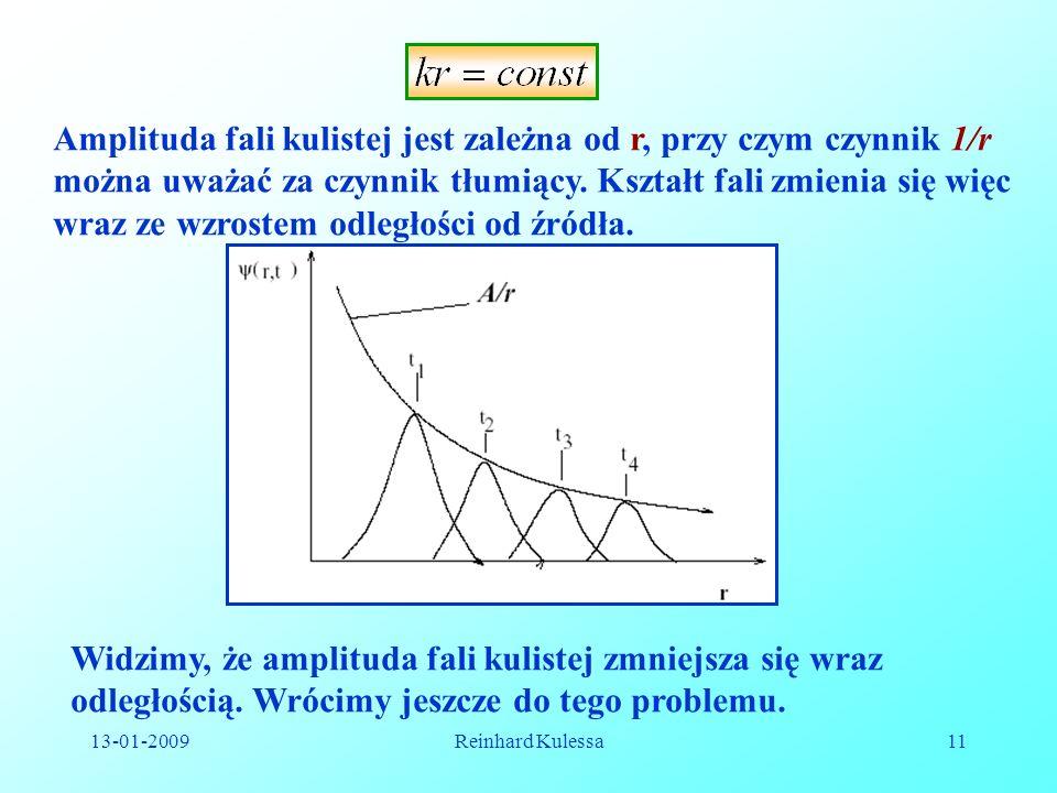 13-01-2009Reinhard Kulessa11 Amplituda fali kulistej jest zależna od r, przy czym czynnik 1/r można uważać za czynnik tłumiący. Kształt fali zmienia s