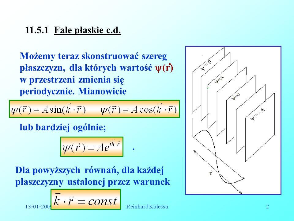 13-01-2009Reinhard Kulessa2 = 0 = - A Możemy teraz skonstruować szereg płaszczyzn, dla których wartość (r) w przestrzeni zmienia się periodycznie. Mia