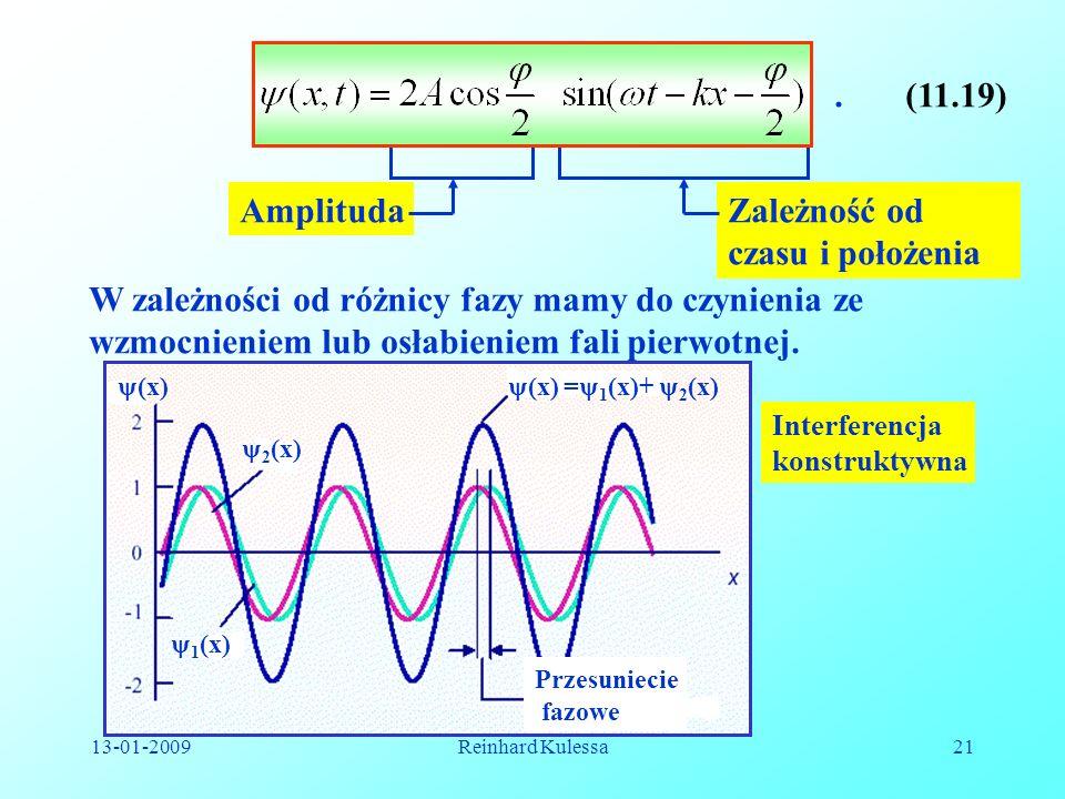 13-01-2009Reinhard Kulessa21 AmplitudaZależność od czasu i położenia W zależności od różnicy fazy mamy do czynienia ze wzmocnieniem lub osłabieniem fa