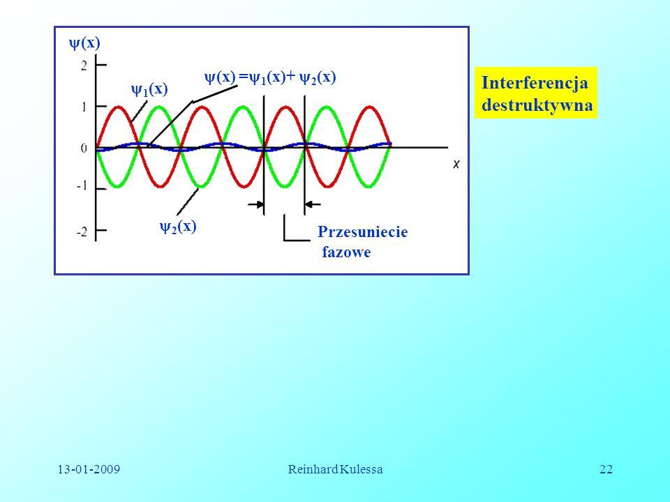 13-01-2009Reinhard Kulessa22 (x) 1 (x) 2 (x) (x) = 1 (x)+ 2 (x) Przesuniecie fazowe Interferencja destruktywna