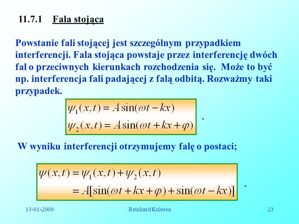13-01-2009Reinhard Kulessa23 11.7.1 Fala stojąca Powstanie fali stojącej jest szczególnym przypadkiem interferencji. Fala stojąca powstaje przez inter