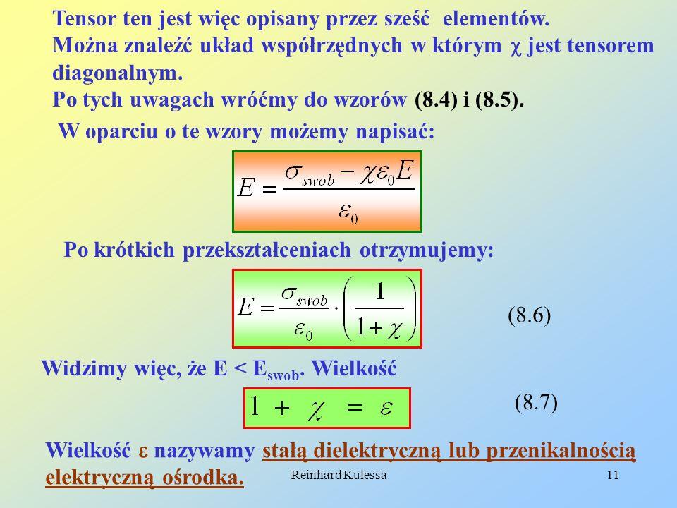 Reinhard Kulessa11 Tensor ten jest więc opisany przez sześć elementów. Można znaleźć układ współrzędnych w którym jest tensorem diagonalnym. Po tych u