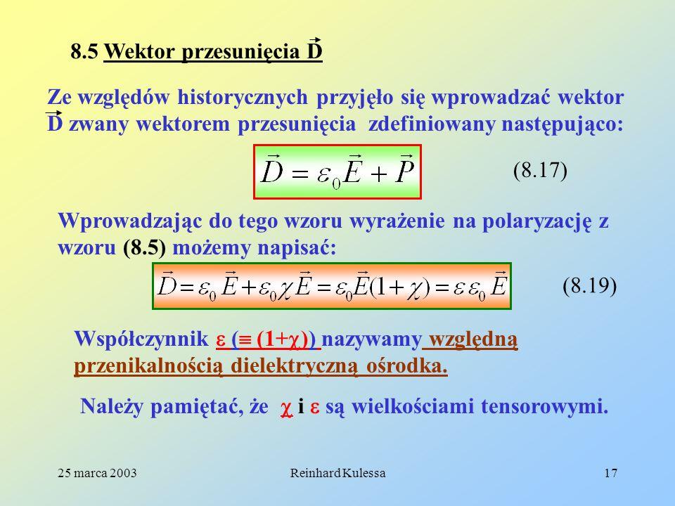 25 marca 2003Reinhard Kulessa17 8.5 Wektor przesunięcia D Ze względów historycznych przyjęło się wprowadzać wektor D zwany wektorem przesunięcia zdefi