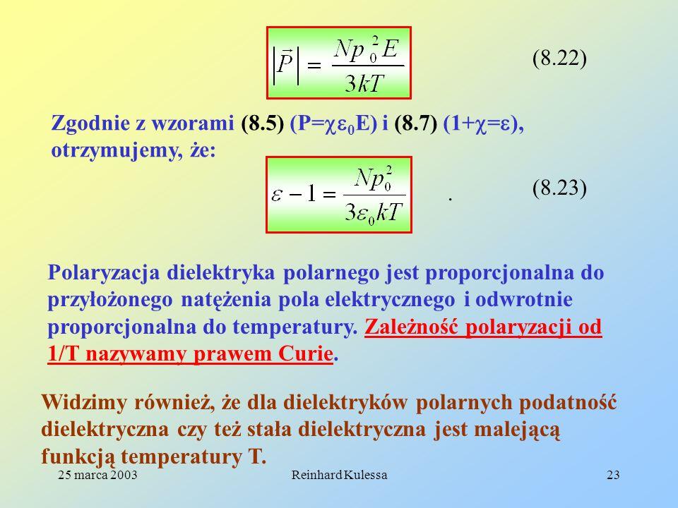25 marca 2003Reinhard Kulessa23 (8.22) Zgodnie z wzorami (8.5) (P= 0 E) i (8.7) (1+ = ), otrzymujemy, że: (8.23). Polaryzacja dielektryka polarnego je