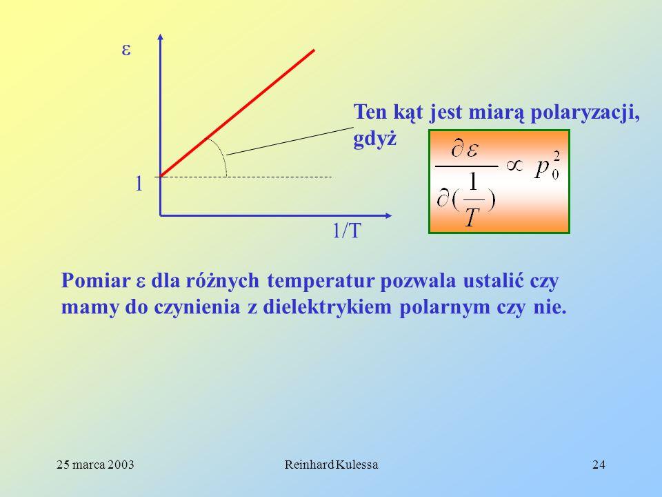 25 marca 2003Reinhard Kulessa24 1/T 1 Ten kąt jest miarą polaryzacji, gdyż Pomiar dla różnych temperatur pozwala ustalić czy mamy do czynienia z diele