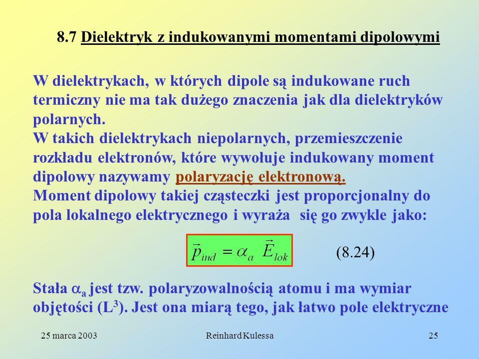 25 marca 2003Reinhard Kulessa25 8.7 Dielektryk z indukowanymi momentami dipolowymi W dielektrykach, w których dipole są indukowane ruch termiczny nie