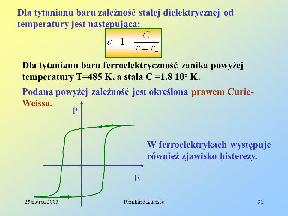 25 marca 2003Reinhard Kulessa31 Dla tytanianu baru zależność stałej dielektrycznej od temperatury jest następująca: Dla tytanianu baru ferroelektryczn