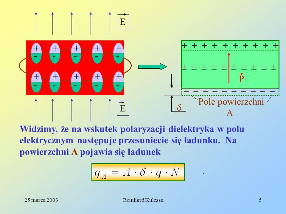 25 marca 2003Reinhard Kulessa5 E E – – – – – + + + + + ± ± ± ± ± P Pole powierzchni A Widzimy, że na wskutek polaryzacji dielektryka w polu elektryczn