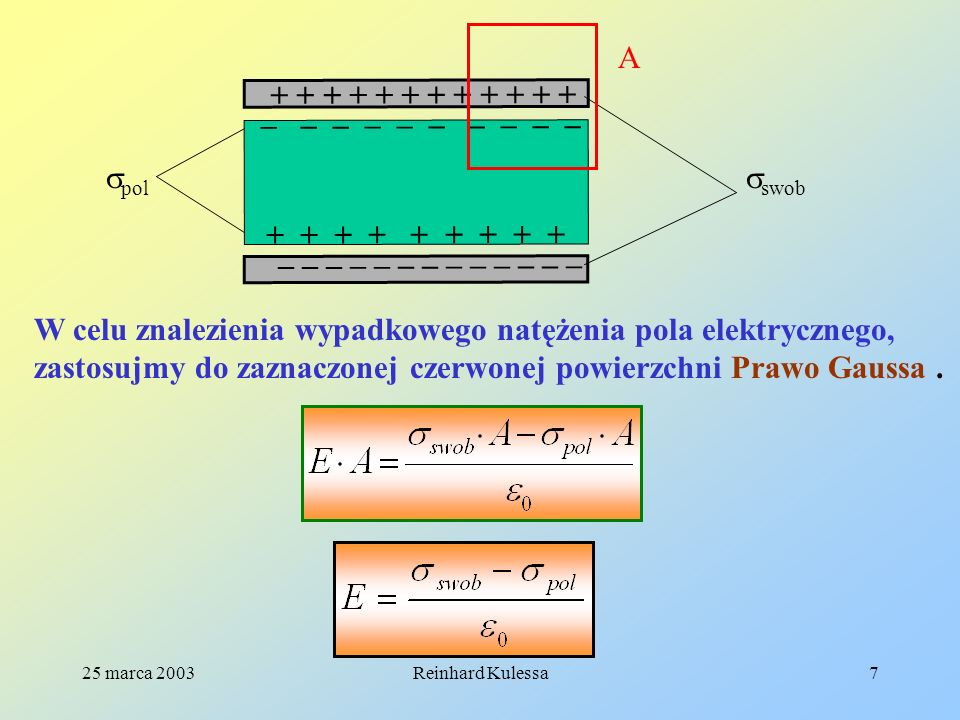 25 marca 2003Reinhard Kulessa18 Wszystkie dotychczasowe rozważania nie wpływają na zachowawczość pola E.