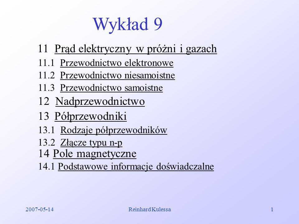 2007-05-14Reinhard Kulessa1 Wykład 9 11 Prąd elektryczny w próżni i gazach 11.1 Przewodnictwo elektronowe 11.2 Przewodnictwo niesamoistne 11.3 Przewod